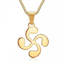 Pendant Man Cross Basque Lauburu Steel Gilded Gold