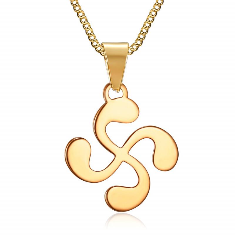 PE0182 BOBIJOO Jewelry Pendant Man Cross Basque Lauburu Steel Gilded Gold
