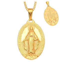 Pendentif Vierge Miraculeuse Marie Acier Plaqué Doré Or bobijoo