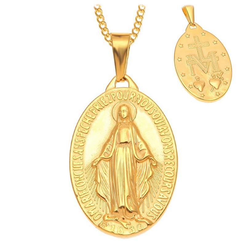 PEF0004 BOBIJOO Jewelry Anhänger Wundertätigen Madonna Maria Stahl Vergoldet Gold