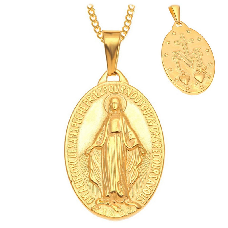 PEF0004 BOBIJOO Jewelry Ciondolo Vergine Miracolosa Di Maria-Placcato In Acciaio Dorato Oro