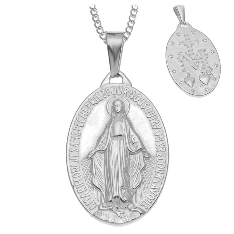 Pendentif Vierge Miraculeuse Marie Acier Argenté bobijoo