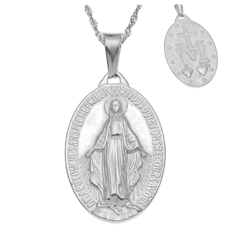 Pendentif Médaillon Vierge Miraculeuse Marie Acier Inox bobijoo