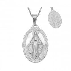 Petit Pendentif Médaillon Vierge Marie Acier Argenté bobijoo
