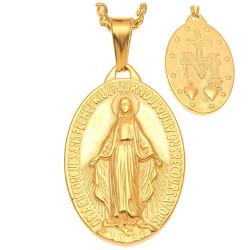 PE0137 BOBIJOO Jewelry Gran Colgante Medallón Con La Virgen Milagrosa De María De Acero De Oro