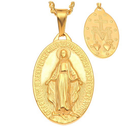 Grand Pendentif Médaillon Vierge Miraculeuse Marie Acier Or bobijoo