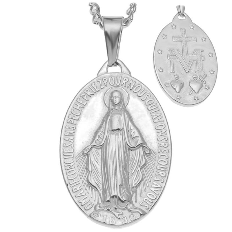 PE0137S BOBIJOO Jewelry Grande Ciondolo Vergine Miracolosa Di Maria In Acciaio, Argento