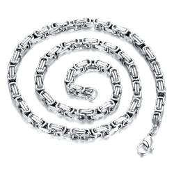 COH0010 BOBIJOO Jewelry Collar De Cadena De Frenar Malla Bizantina De Plata De Acero