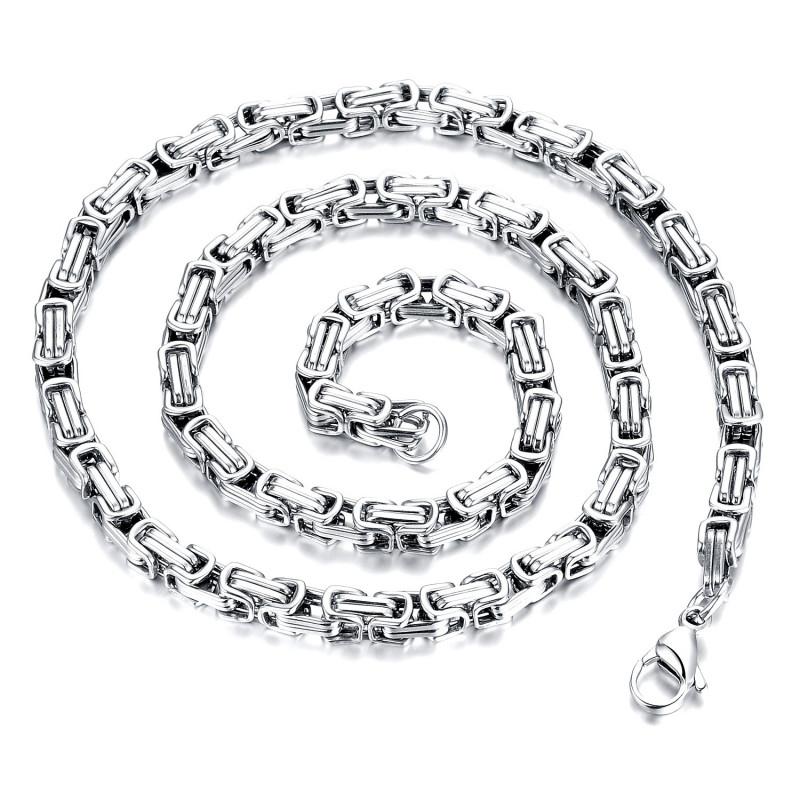 COH0010 BOBIJOO Jewelry Collier Chaîne Gourmette Mailles Byzantines Acier Argenté