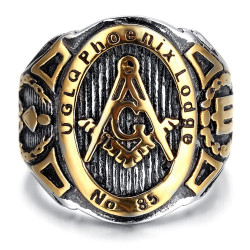 BA0041 BOBIJOO Jewelry Signet Ring Freemasonry UGLQ PHOENIX LOGDE 85 Gold End