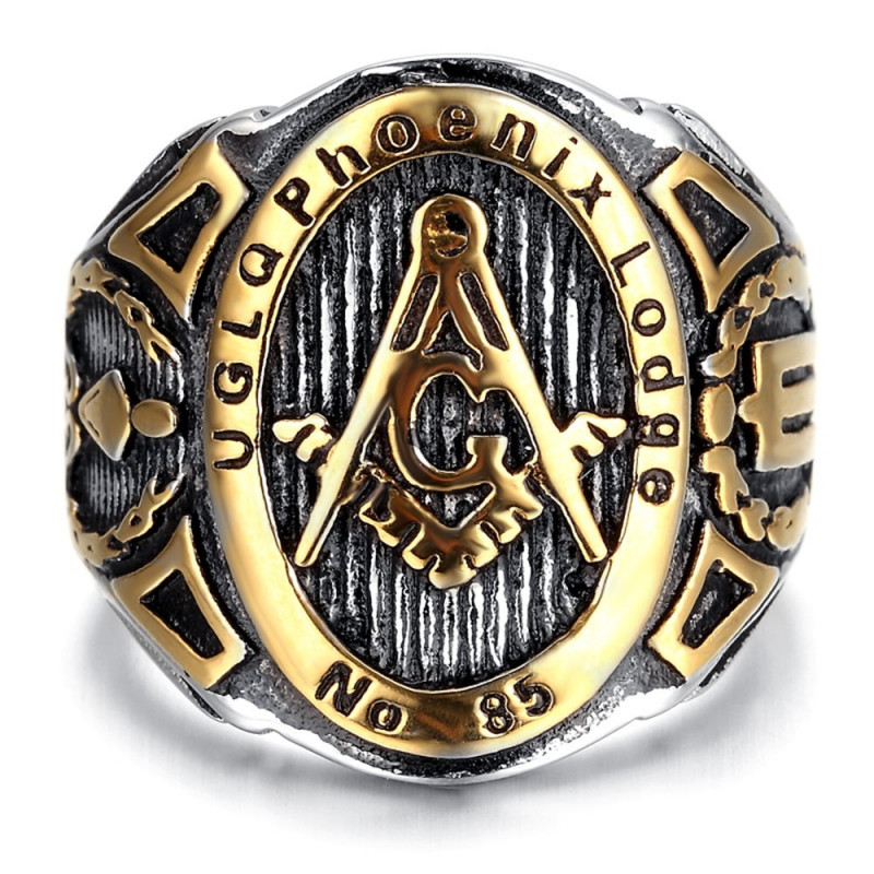 BA0041 BOBIJOO Jewelry Signet Ring Freemasonry UGLQ PHOENIX LOGDE 85 Gold End