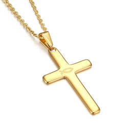 Cross pendant Evangelical Ichthus Fish Jesus Gold 39mm