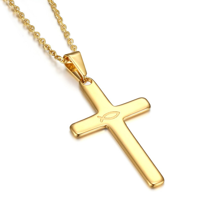 PE0185 BOBIJOO Jewelry Cross pendant Evangelical Ichthus Fish Jesus Gold 39mm