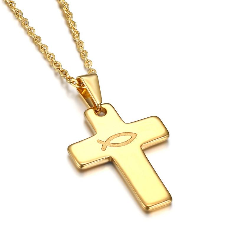 PE0186 BOBIJOO Jewelry Anhänger Kreuz Evangelische Ichthus Fisch-Jesus Gold 28mm
