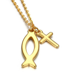 PE0187 BOBIJOO Jewelry Pendentif Ensemble Croix Jesus et Ichthus Poisson Or