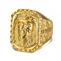 BA0243 BOBIJOO Jewelry Grande Anello Testa Di Gesù Acciaio Croce D'Oro