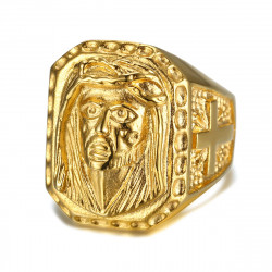 BA0243 BOBIJOO Jewelry Großen Siegelring Ring Kopf Jesu Stahl Gold Kreuz