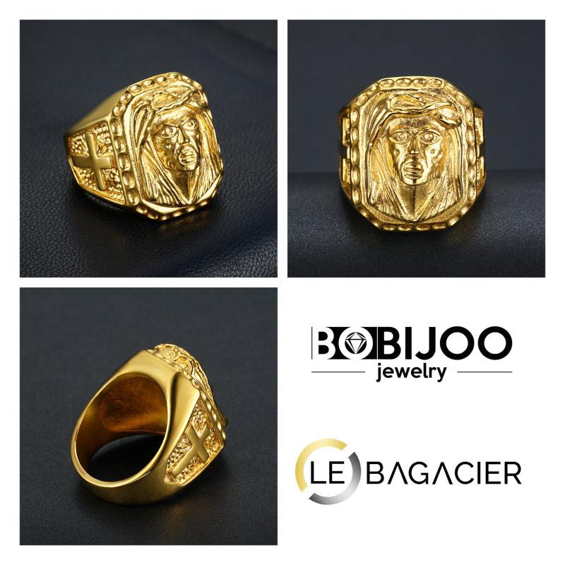 BOBIJOO Jewelry Grosse Chevali/ère Bague Homme T/ête de Lion Acier INOX Plaqu/é Or Croix Voyageur