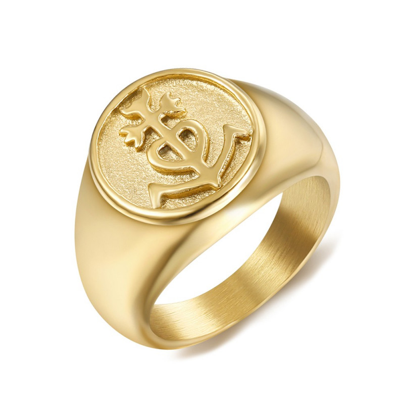 BA0303 BOBIJOO Jewelry Ring Siegelring herren damen Kreuz der Camargue Gold