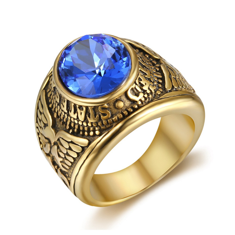 BA0304 BOBIJOO Jewelry Anello Anello Con Castone Man United States Navy Oro Nero Blu