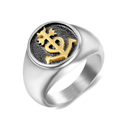 BA0199 BOBIJOO Jewelry Anello anello Uomo Donna Croce della Camargue d'Oro