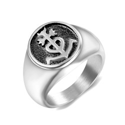 BA0198 BOBIJOO Jewelry Ring Signet ring Man Woman Cross of the Camargue, and Silver