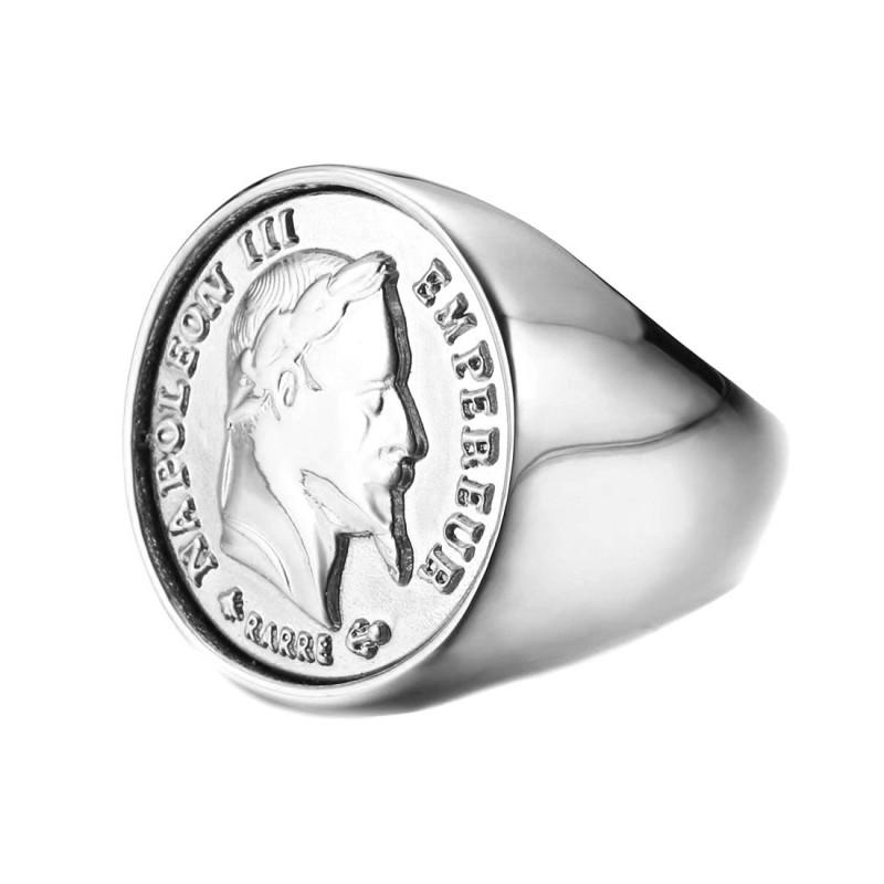 BA0307 BOBIJOO Jewelry Signet Ring Stainless Steel, 20 Francs NAPOLEON