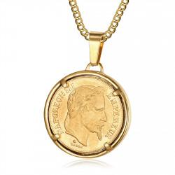 PE0188 BOBIJOO Jewelry Ciondolo Moneta di Napoleone III Louis Acciaio Oro