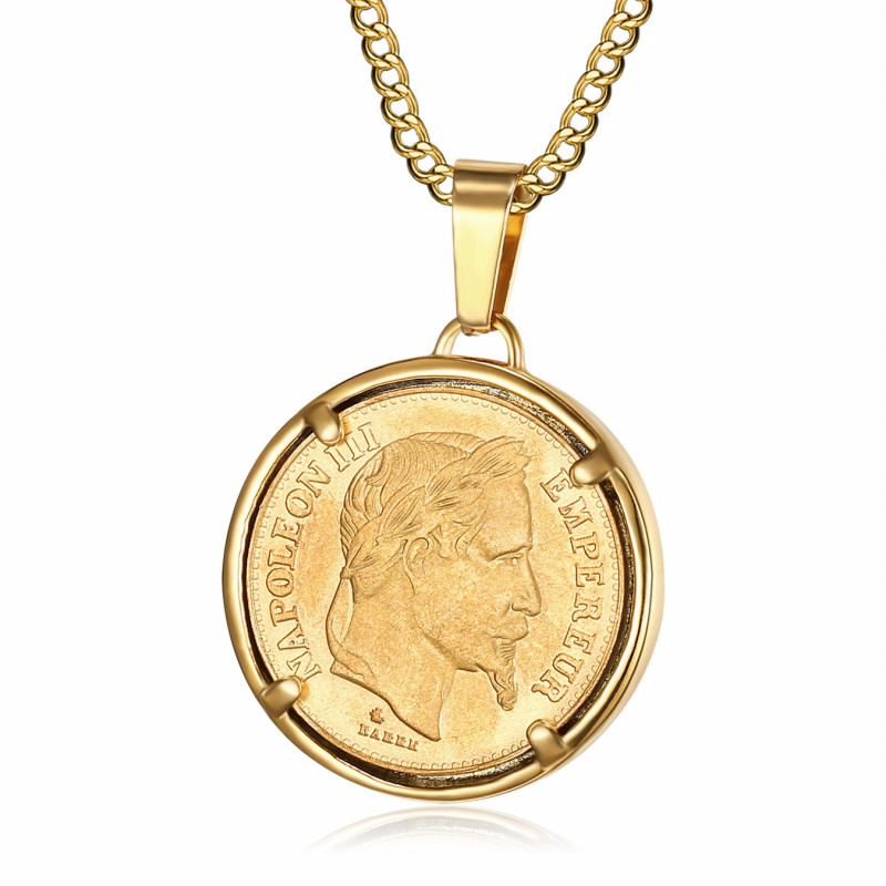 Pendentif Pièce Napoléon III Louis Acier Or bobijoo