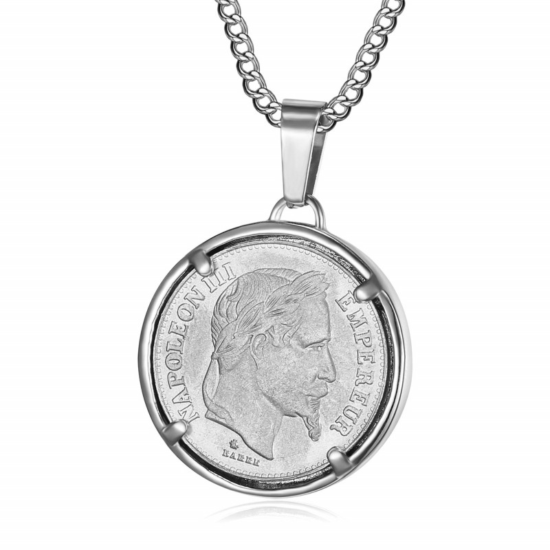 PE0189 BOBIJOO Jewelry Colgante Moneda de Napoleón III Louis de Plata de Acero