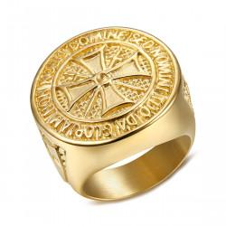 BA0308 BOBIJOO Jewelry Ring Siegelring Templer-Orden, Roh Stahl, Verzinkt Gold