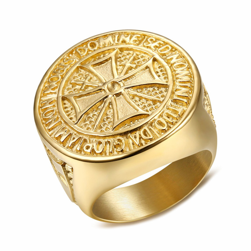 BA0308 BOBIJOO Jewelry Ring Knight Order Templar Crude Steel Plated Golden Gold