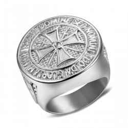 BA0309 BOBIJOO Jewelry Anillo De Caballero De La Orden De Los Templarios De Acero Crudo, Plata