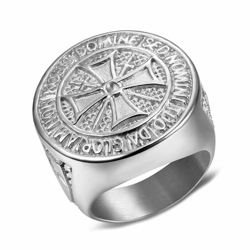 BA0309 BOBIJOO Jewelry Ring Siegelring Templer-Orden Roh Stahl Silber