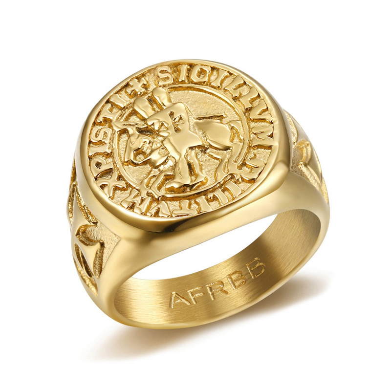 BA0310 BOBIJOO Jewelry Ring Signet ring Steel Gold Templar Seal Christ