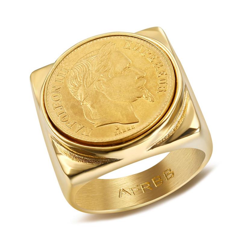 BA0312 BOBIJOO Jewelry Signet Ring stainless Steel Napoleon III 20 Frs Square Full