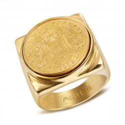 BA0313 BOBIJOO Jewelry Chevalière Bague Acier Empire Français 20 Frs Carré Pleine