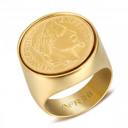 BA0314 BOBIJOO Jewelry El Anillo de sellar de Acero inoxidable de Napoleón III, 20 Frs Redondo Hueco