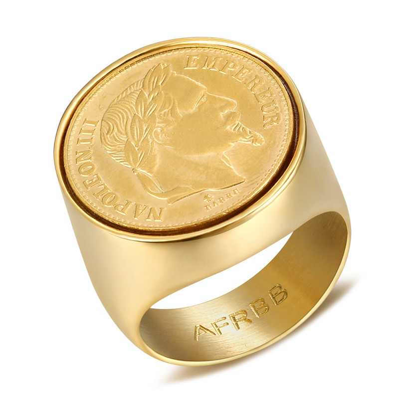 BA0314 BOBIJOO Jewelry Signet Ring stainless Steel Napoleon III 20 Frs Round Hollow