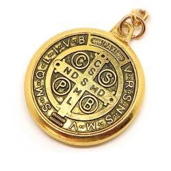 PCL0005 BOBIJOO Jewelry Key Ring Religious Medal Cross, Saint Benedict, Golden
