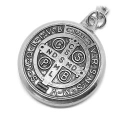 PCL0006 BOBIJOO Jewelry Key Ring Religious Medal Cross, Saint Benedict Silver