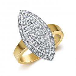 BAF0041 BOBIJOO Jewelry Bague Marquise Plaqué Doré Or Acier Zirconium