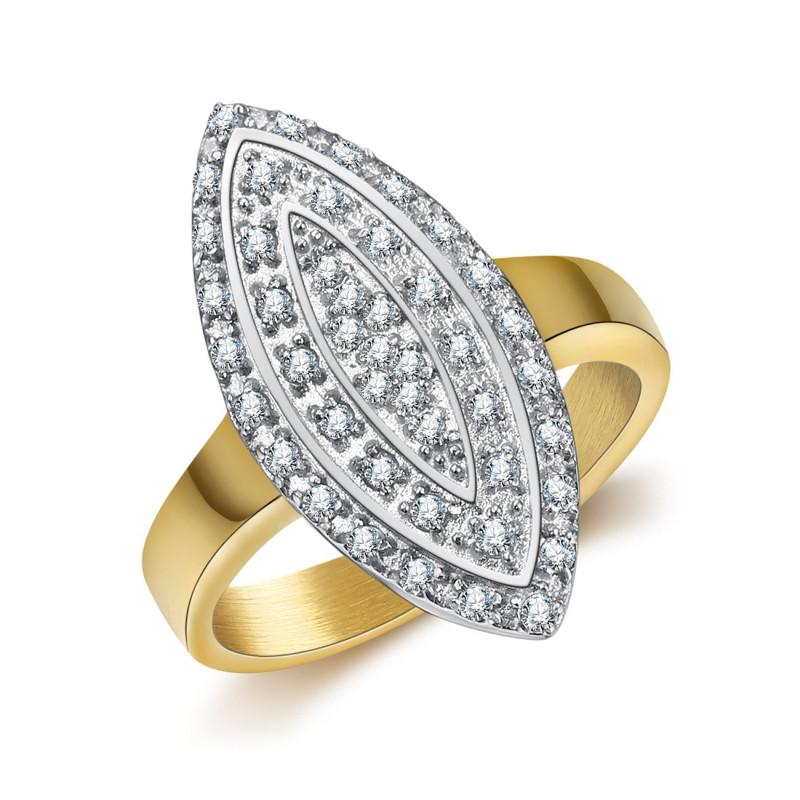 BAF0041 BOBIJOO Jewelry Ring Marquise Plated Vergoldet Gold-Edelstahl-Zirkonium