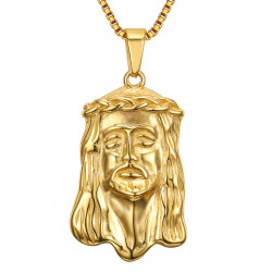 PE0129 BOBIJOO Jewelry Pendant Head of Jesus Christ Steel Gold + Chain