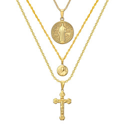 PEF0044 BOBIJOO Jewelry All 3 Pendants Necklaces Chains Steel Gold Catholic