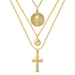 PEF0044 BOBIJOO Jewelry Tutti E 3 Ciondoli Collane Catene, Acciaio Oro Cattolica
