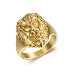 BA0315 BOBIJOO Jewelry Discrète Chevalière Bague Tête de Lion Acier Or Enfant