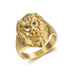 BA0315B BOBIJOO Jewelry Discreet Signet Ring Lion Head Gold Eyes Blue
