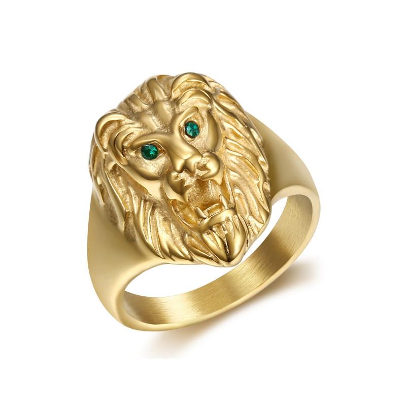 BA0315V BOBIJOO Jewelry Discreto Anillo De Sellar De Cabeza De León De Oro-Ojos Verdes
