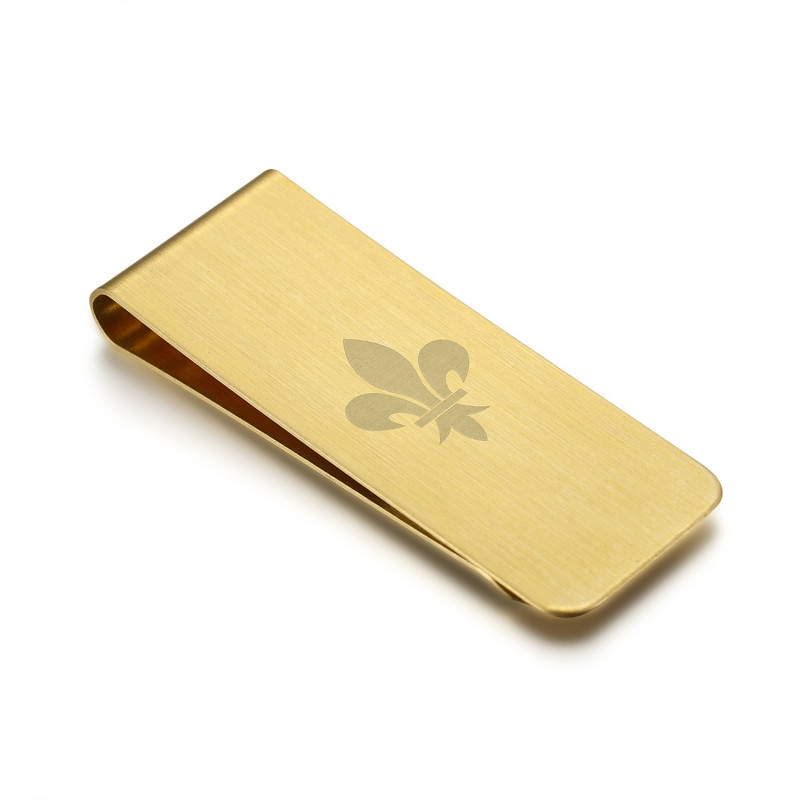 PB0014 BOBIJOO Jewelry Money clip Stainless Steel Brushed Gold Pattern of Choice